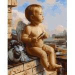 Cute Cherub With Pigeons
