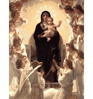 Holy Mother & Jesus Religious Hand Painted Design Needlepoint Canvas