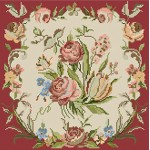 Pink Roses Red Ecru Needlepoint pillow kits
