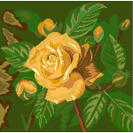 Yellow Rose With Buds Needlepoint Pillow Kits