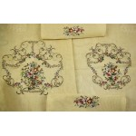 Large Vtg Preworked Needlepoint Canvas Beautiful Flowers