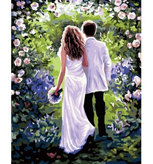Lovers Towards to Rose Needlepoint Canvas