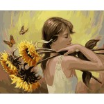 Pensive girl,Sunflower