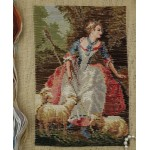 Vtg. Beautiful Tramme Tapestry Kits Girl Lamb