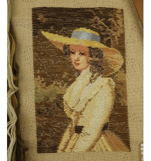 Beautiful Young Girl In Yellow Tramme Needlepoint Kits