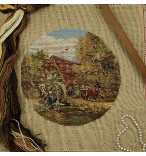 Country Cottage Cart Tramme Needlepoint Kits