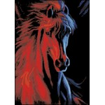 Horse In Red Glow Hand Painted Design