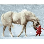 Baby In Red With White Horse In Snowday