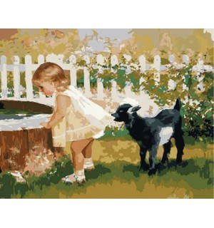 Little With Cute Goat Hand Painted Design Needlepoint Canvas