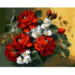Red Roses With White Daisy