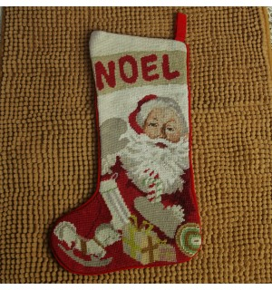 New Handmade Needlepoint Christmas Stocking Santa With Candy Cane