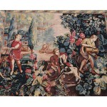 3.6' X 4.2' vintage Handmade NEEDLEPOINT tapestry - The Gardeners