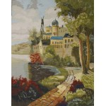 vintage NEEDLEPOINT tapestry - TOWN ALONG RIVERSIDE