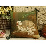 Dog & Babies Needlepoint Pillow