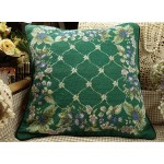 Vintage Green Needlepoint Pillow Blue Strawberry Design