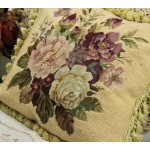 Beautiful Chic Charm French Country Style Handmade Floral Needlepoint Pillow