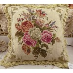 Chic Shabby Floral Handmade Needlepoint Pillow Cushion With Fringe