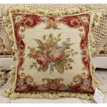 Chic Shabby Burgandy Beige Floral Handmade Needlepoint Pillow Cushion