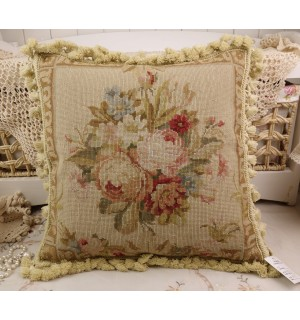 Vintage Chic Shabby Floral House Sofa Chair Decorative Needlepoint Pillow