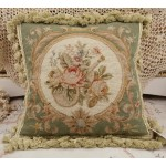 Chic Shabby Pale Green Beige Floral Handmade Needlepoint Pillow Cushion