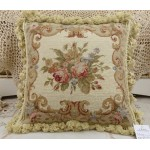Chic Shabby Beige Floral Handmade Decorative Needlepoint Pillow Cushion