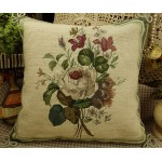 Hand Crafted Needlepoint Petit Point  White Roses Pillow