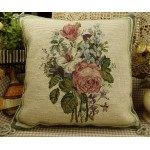 Hand Crafted Needlepoint Petit Point Pink Roses Pillow
