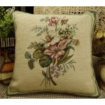 Hand Crafted Needlepoint Petit Point Pink White Roses Pillow