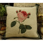 Hand Crafted Vintage Needlepoint Pillow Rose