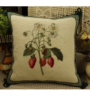 Hand Crafted Vintage Needlepoint Pillow Strawberry