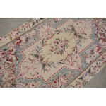 Handmade Full of Rose Multi-Color Needlepoint Area Rug Aubusson Design