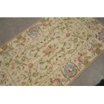 3' X 5' Handmade Beautiful Rose Floral Needlepoint Area Carpet Aubusson Design