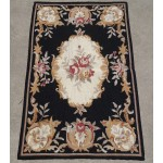 2' X 3' Black Gold Beige Red Roses Chic Shabby Needlepoint Area Rug