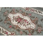 3' X 5' Beautiful Chic Shabby Light Green Color Rose Floral Needlepoint Rug