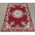 Handmade VTG Roses Burgandy Color Needlepoint Area Rug Aubusson Design