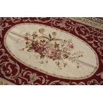 4' X 6' NEW Woolen Handmade Red Color Needlepoint Area Rug VINTAGE Design
