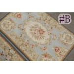 2' X3' Handmade Beautiful Light Blue Needlepoin​t Area Rug French Aubusson Design