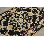 3' x 5' Vintage Black Gold Acanthus Vines French Aubusson Design Needlepoint Rug