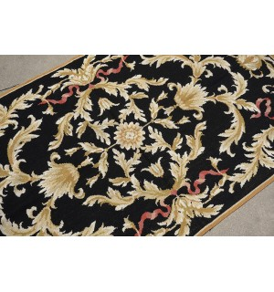 3 X 5 Vintage Black Gold Acanthus Vines French Aubusson Design Needlepoint Rug