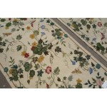 Beautiful Wool Handmade Flora Garden Needlepoint Area Rug Beige Color