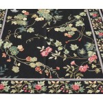 4' X 6' 100% Handmade Wool Needlepoint Runner Rug Beautiful Floral Garden