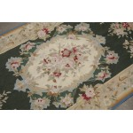 3' X 5' Handmade Beautiful Rare Teal Green Needlepoint Area Rug Aubusson Design