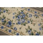 2.5' X 4.5' Beautiful Blue Roses Beige Color Needlepoint Rug