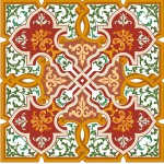 Gold Brown Red Green For Pillow With Decorative Vines